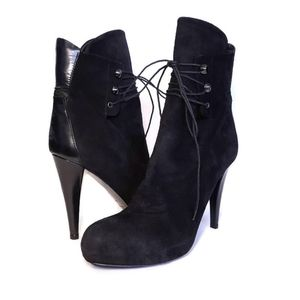 LATITUDE FEMME Suede Leather Lace Up Ankle Boots